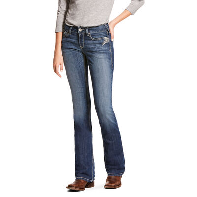 R.E.A.L. Mid Rise Stretch Shimmer Boot Cut Jean