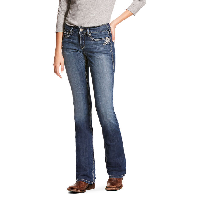 R.E.A.L. Mid Rise Stretch Shimmer Boot Cut Jean