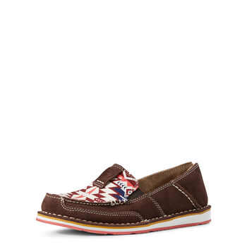 BROWN SUEDE/ BURGUNDY AZTEC