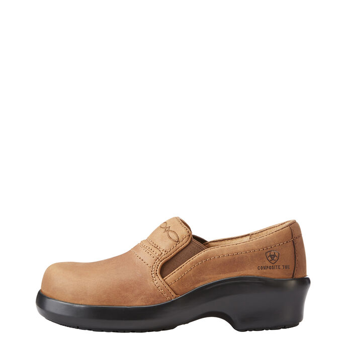 Women's Brown Composite Toe Clog Work Boots