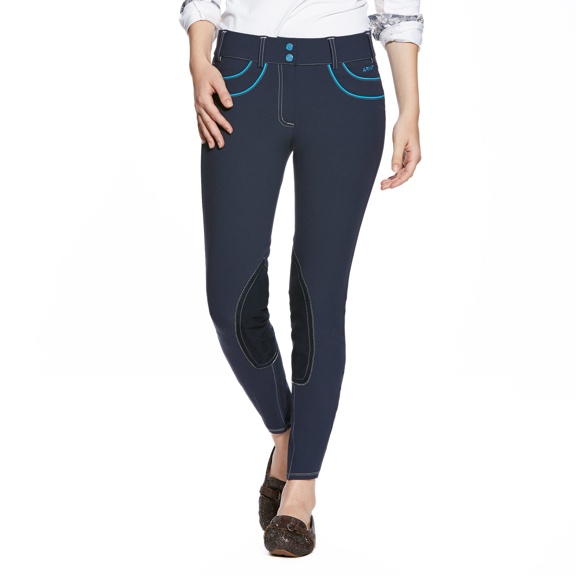 Olympia Acclaim LR Front Zip Knee Patch Breech