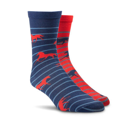 Horses Over Stripes Crew Sock 2 Pair Multi Color Pack