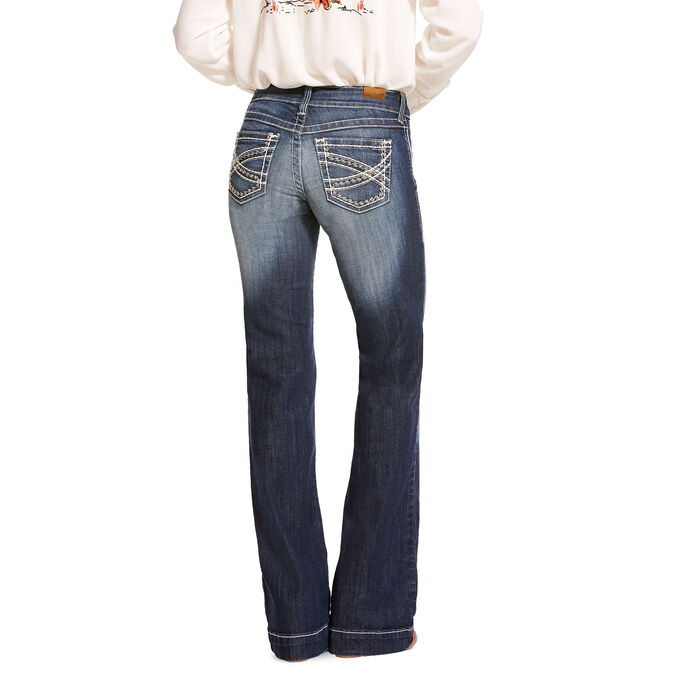 Trouser Mid Rise Stretch Entwined Wide Leg Jean