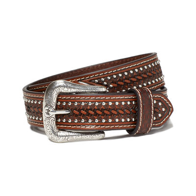 Studded Basket Weave Belt