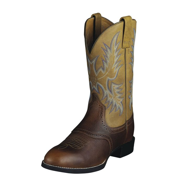 Men's Beige and Brown Stockman Cowboy Boots