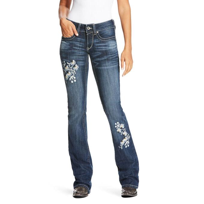 R.E.A.L Mid Rise Boho Flower Boot Cut Jean