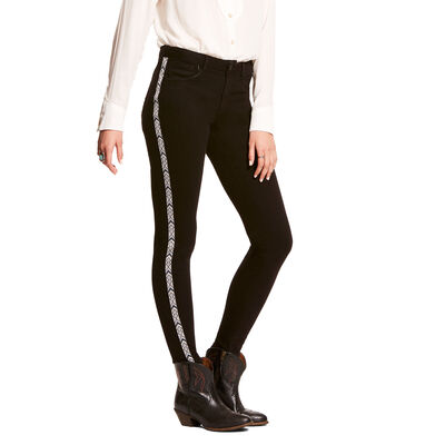 Ultra Stretch Perfect Rise Chevron Black Skinny Jean