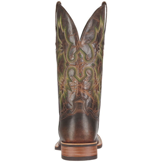 Men's Brown Cowboy Boots With Green Stitching