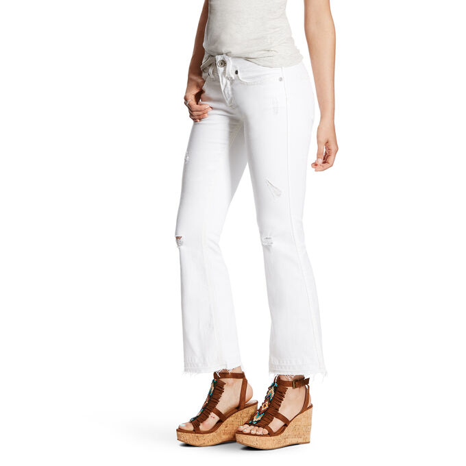 R.E.A.L Mid Rise Ella White Deconstructed Stitch Cropped Straight Leg Jean