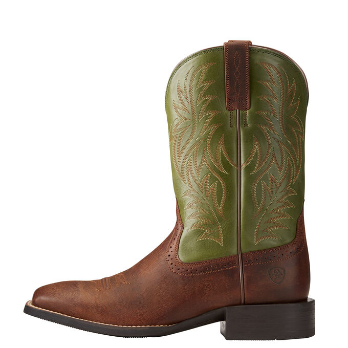 Mens Brown and Green Cowboy Boots - Wide Square Toe