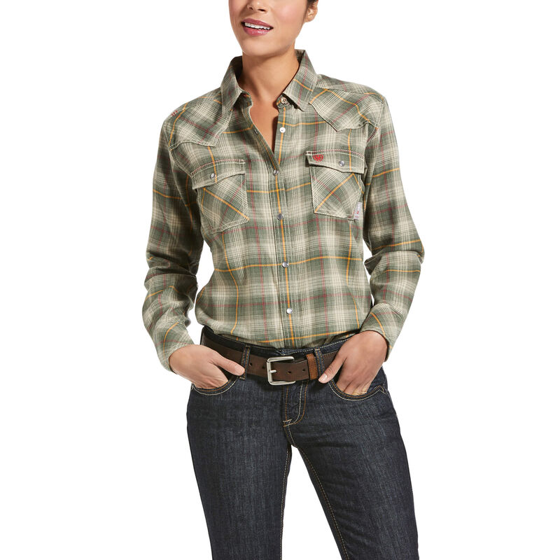 Ariat Women's FR Connally Retro Fit Snap Work Shirt in White Pepper Plaid