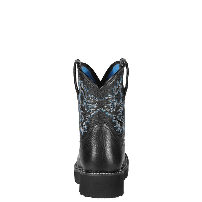Women's Black Cowboy Boots with Blue Stitching