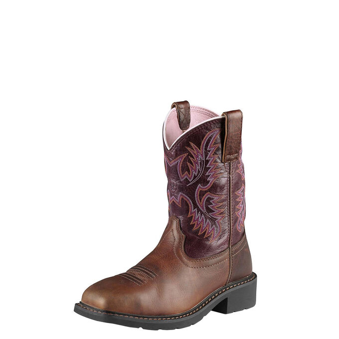 Women's Steel Toe Work Boots With Pink Stitching