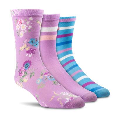 Violet Floral Crew Sock 3