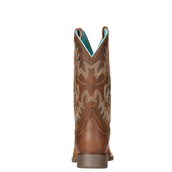 Women's Brown Cowboy Boots With Light Blue Stitching