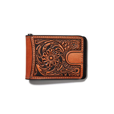 Bifold Wallet Tan Floral Logo Embroidery