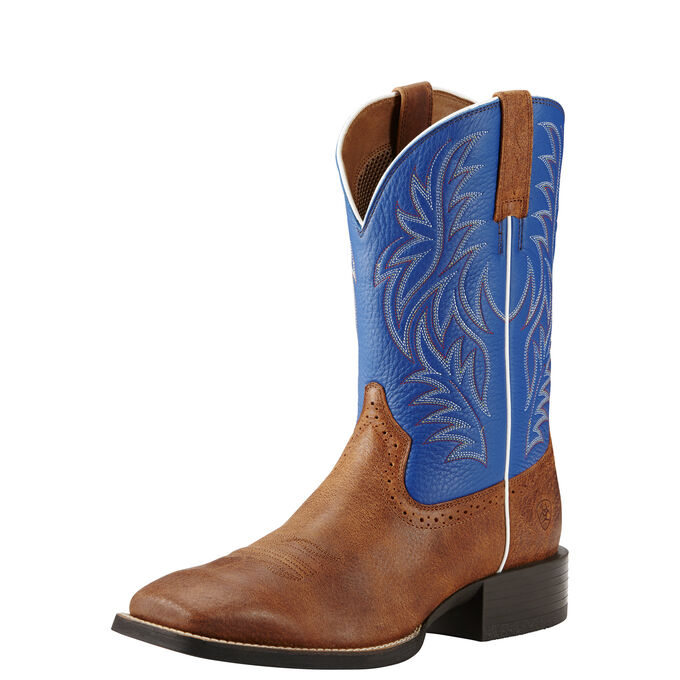 Mens Brown and Blue Cowboy Boots - Wide Square Toe