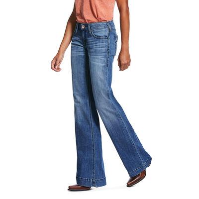 Trouser Mid Rise Stretch Half Moon Wide Leg Jean