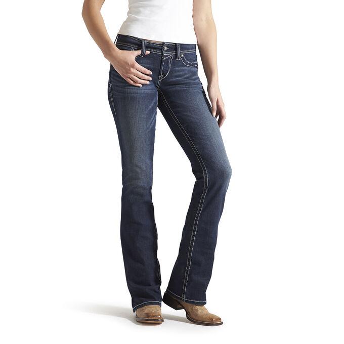 R.E.A.L. Mid Rise Whipstitch Boot Cut Jean
