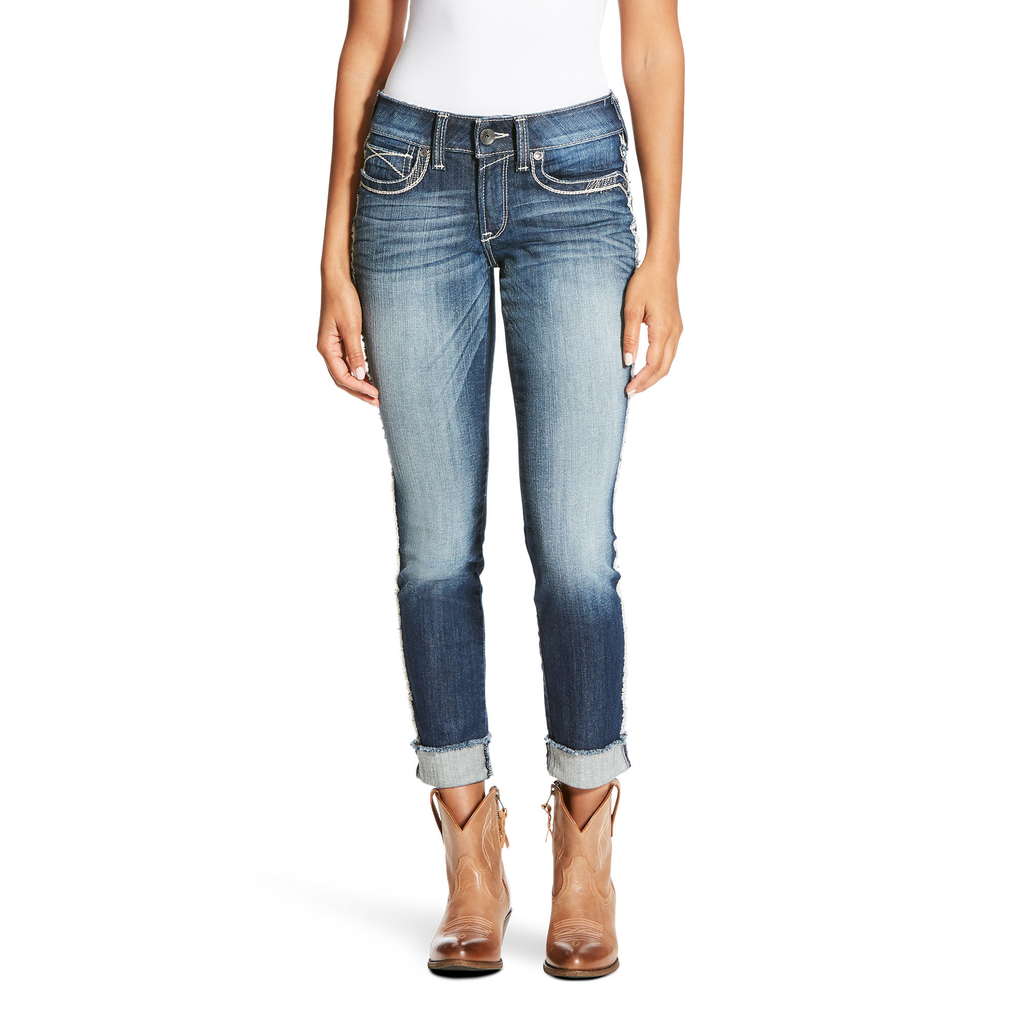 R.E.A.L Mid Rise Side Seam Fray Skinny Jean