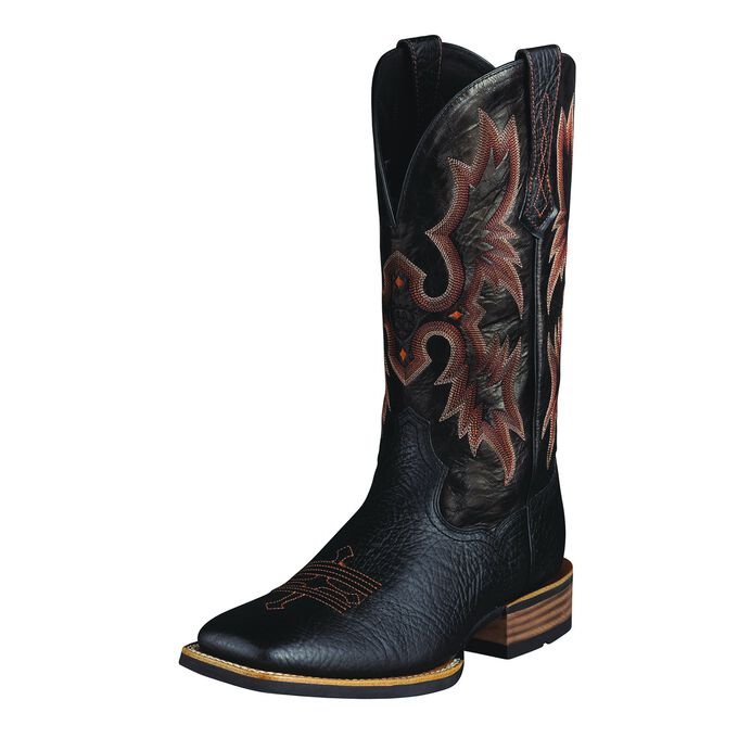 Black Cowboy Boots With Red Stitching