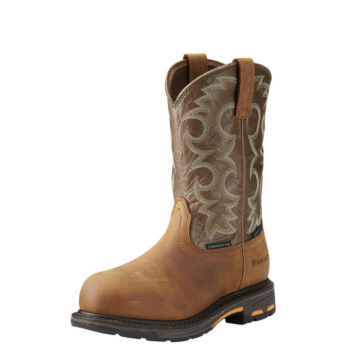 Women's Brown Western Waterproof Composite Toe Work Boot