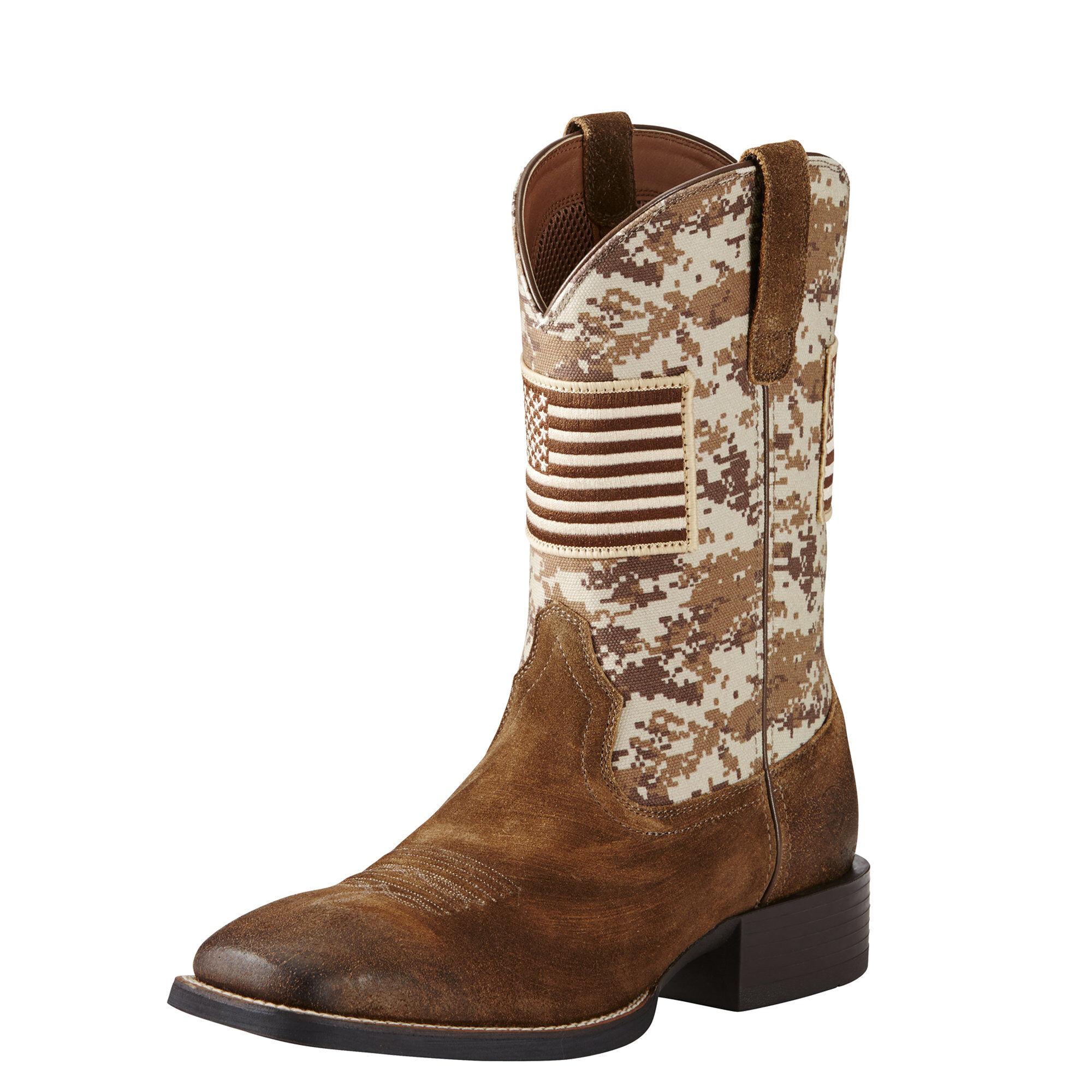 Men's Ariat Sport Patriot Round Toe Cowboy Boot, Size: 13 D, Black Deer tan Leather