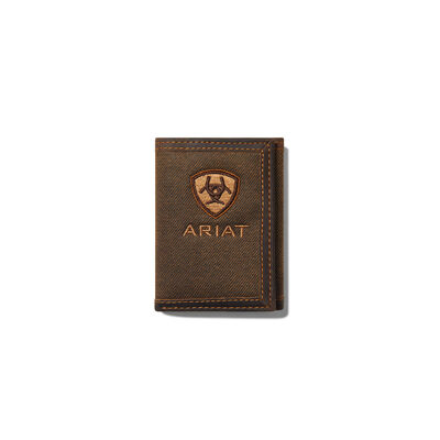 Tan Shield Brown Fabric Trifold Wallet
