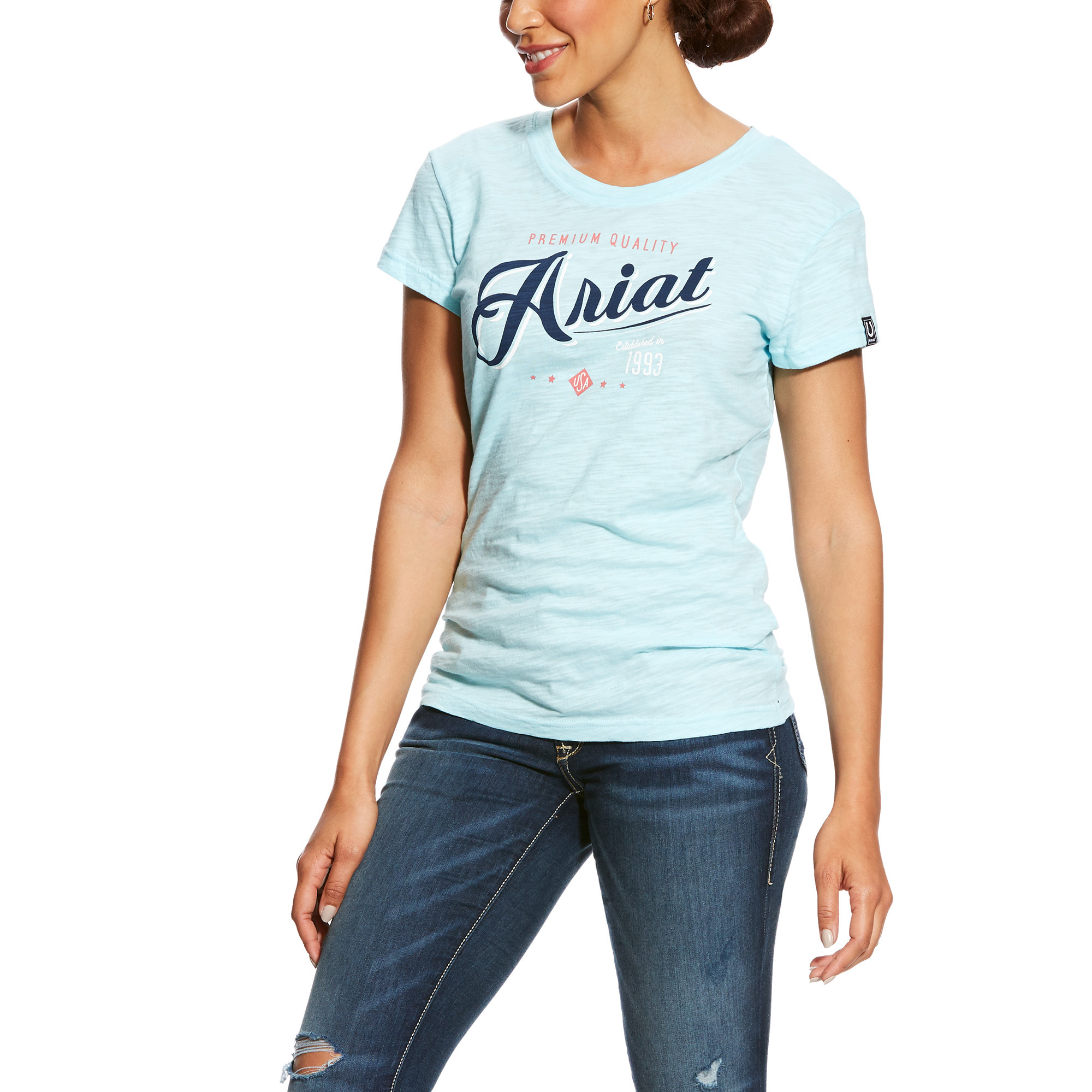 ARIAT Womens Haberdashery Tee Lilac Pearl Size Large