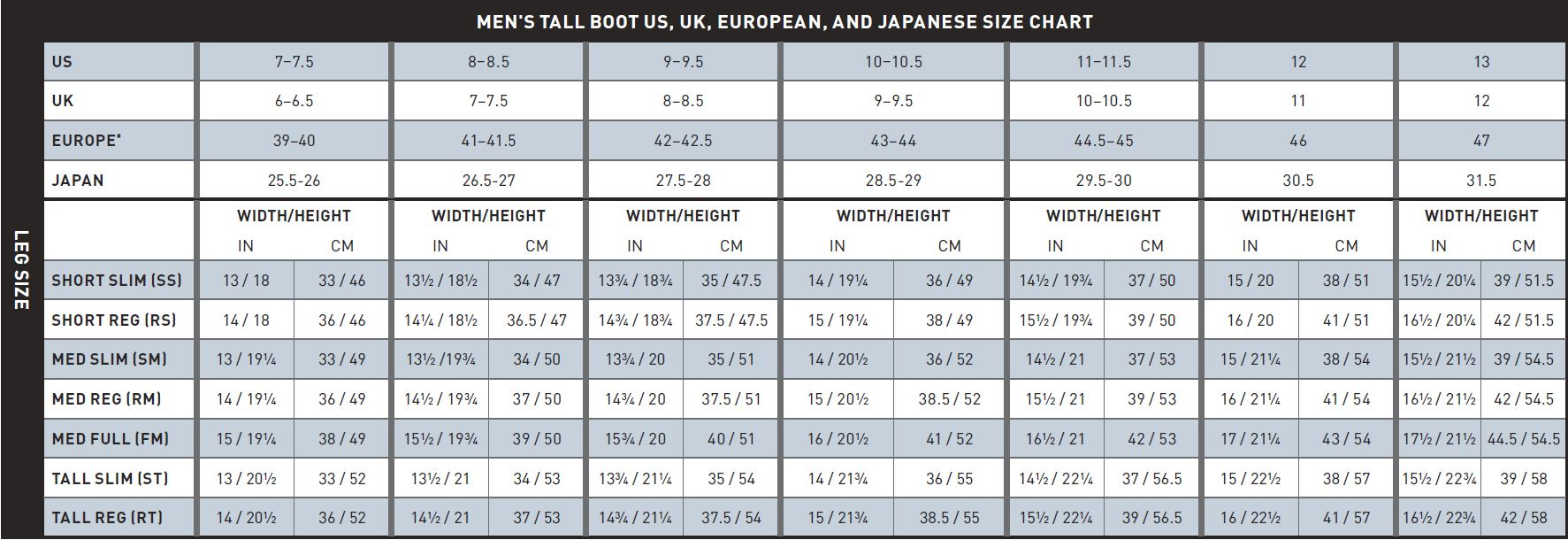 Mens Tall Boot Size Chart