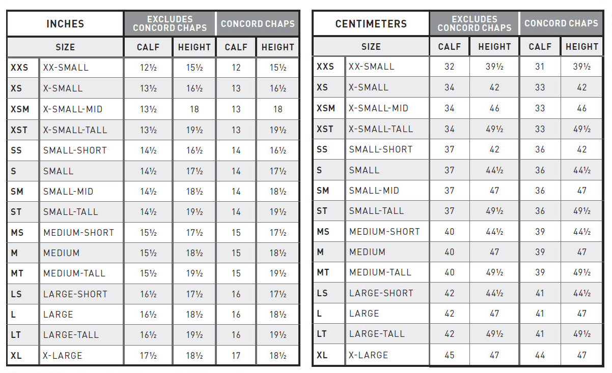 Plot - ARIAT SIZING GUIDE CHAPS